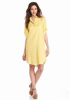 Grace Elements Split Neck Shirt Dress