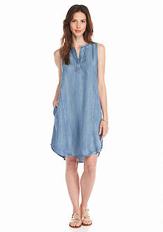 Grace Elements Split Neck Shirttail Dress