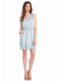 Grace Elements Embroidered Petal Chambray Dress