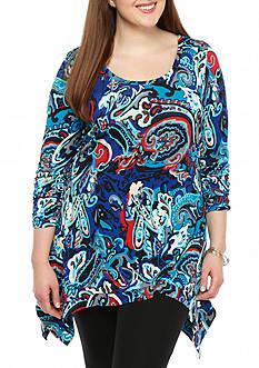 Grace Elements Plus Size Printed Sharkbite Tunic