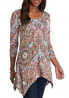 Grace Elements Paisley Sharkbite Print Tunic