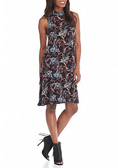 Grace Elements Mockneck Print Knit Dress