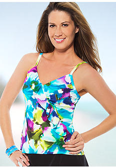 Caribbean Joe Summer Bloom Diagonal Ruffle Tankini