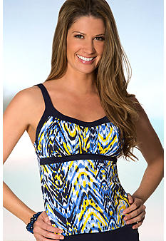 Caribbean Joe Hi Frequency Framed Peasant Tankini