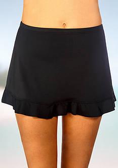 Caribbean Joe Solid Ruffle Hem Swim Skirt