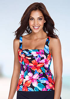 Caribbean Joe Tropical Bliss Pleated Front Tankini