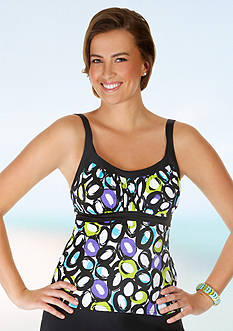 Caribbean Joe Life Saver Framed Peasant Tankini