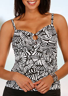 Caribbean Joe Urban Palm Ring Front Tankini
