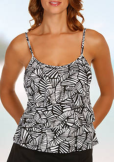 Caribbean Joe Urban Palm Triple Tier Ruffle Tankini