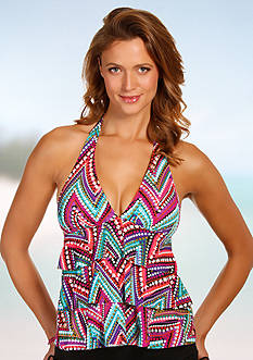 Caribbean Joe Downtown Vibe Ruffle Layered Halterkini