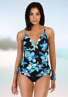 Caribbean Joe Martinique Shirred Fauxkini One Piece