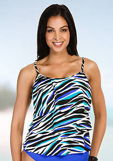Caribbean Joe Wild Stripes Triple Tier Tankini
