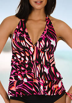 Caribbean Joe Flight of Fancy Ruffle Layered Halter Tankini