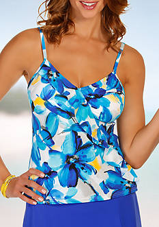 Caribbean Joe Blissful Bloom Ruffle Diagonal Ruffle Tankini
