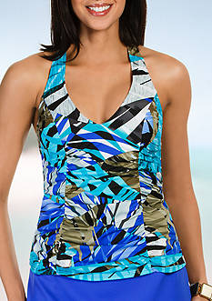 Caribbean Joe H-Back Side Shirred Halterkini