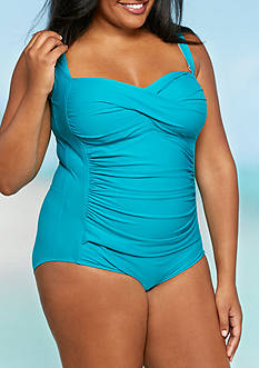 Caribbean Joe Plus Size Twist One Piece Swimsuit