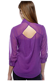 6 Degrees Foil Dot Keyhole Back Top