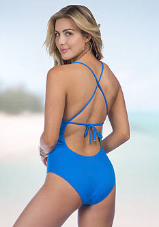 Polo Ralph Lauren Solid Reversible X-back One Piece Swimsuit