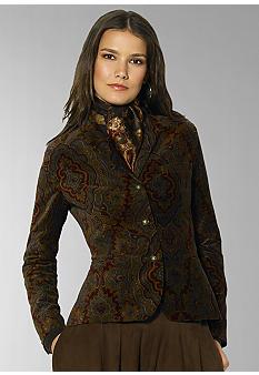 Lauren Ralph LaurenAncroft Paisley Velvet Jacket - Belk.co