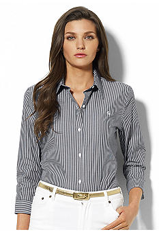 Lauren Ralph Lauren Priya 3/4 Sleeve Striped Shirt