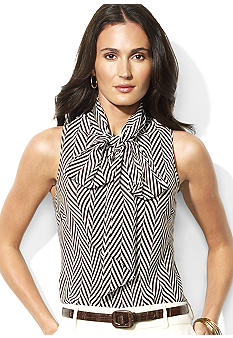 Lauren Ralph Lauren Ginnie Silk Herringbone Bow Blouse