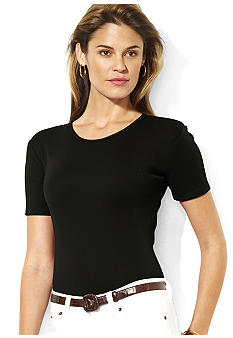 Lauren Ralph Lauren Charissa Short-Sleeved Cotton Crewneck Tee