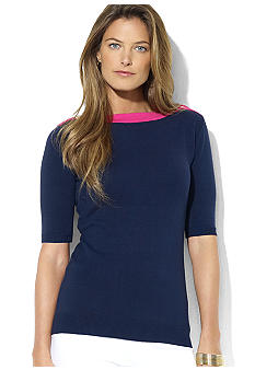 Lauren Ralph Lauren Short-Sleeved Button-Shoulder Bateau-Neck Top