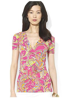 Lauren Ralph Lauren Short-Sleeved Faux-Wrap Paisley Top