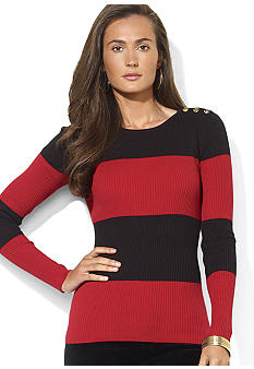 Lauren Ralph Lauren Button-Shoulder Striped Cotton Crewneck Sweater