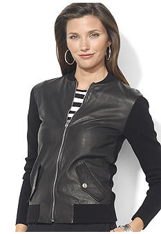 Lauren Ralph Lauren Leather-Front Cotton Cardigan