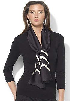 Lauren Ralph Lauren Three-Quarter-Sleeved Cotton-Blend Scarf V-Neck Shirt