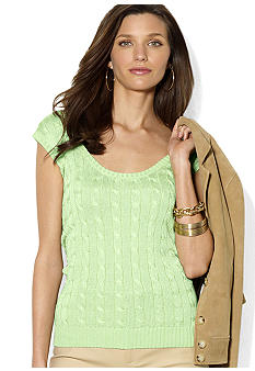 Lauren Ralph Lauren Sleeveless Cabled Scoopneck Sweater