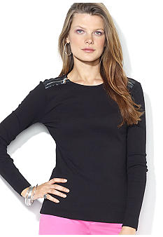 Lauren Ralph Lauren Zippered-Shoulder Crewneck