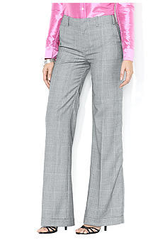 Lauren Ralph Lauren Wool Plaid Wide-Leg Pant