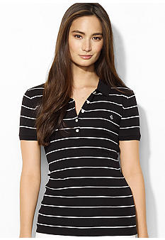 Lauren Ralph Lauren Short-Sleeved Cotton Striped Polo