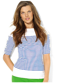 Lauren Ralph Lauren Striped Laced-Sleeve Top