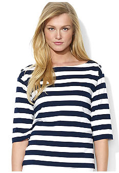 Lauren Ralph Lauren Striped Elbow-Sleeved Top