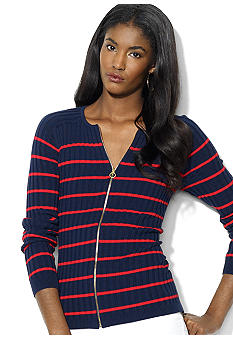 Lauren Ralph Lauren Combed Cotton Striped Crewneck