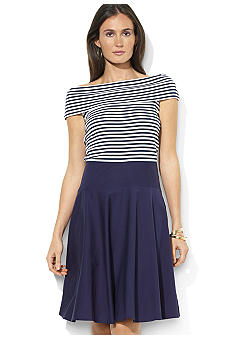 Lauren Ralph Lauren Striped-Bodice Cotton Dress