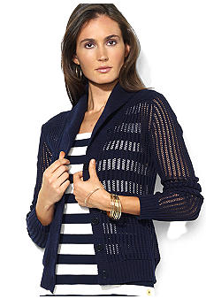 Lauren Ralph Lauren Ribbed Shawl-Collar Cardigan