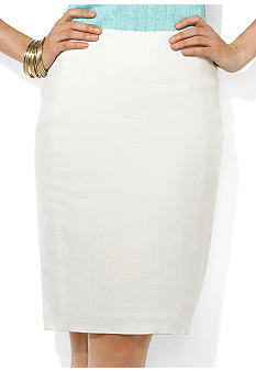 Lauren Ralph Lauren Flared-Back Linen Skirt