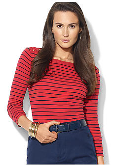 Lauren Ralph Lauren Striped Cotton Boatneck Top