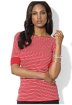 Lauren Ralph Lauren Cotton Boatneck Striped Top