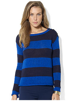 Lauren Ralph Lauren Long-Sleeved Jersey Striped Boatneck Button-Shoulder Sweater
