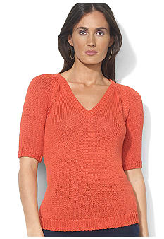 Lauren Ralph Lauren Cropped Raglan V-Neck Sweater