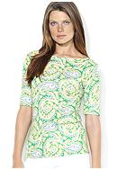 Lauren Ralph Lauren Cotton Boatneck Paisley Top