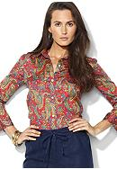 Lauren Ralph Lauren Three-Quarter-Sleeved Paisley Cotton Voile Shirt