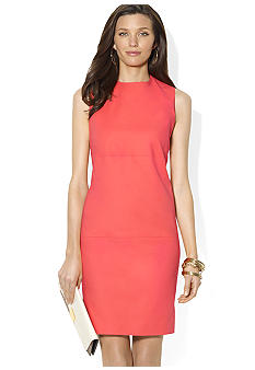 Lauren Ralph Lauren Sleeveless Crewneck Stretch Cotton Shift Dress