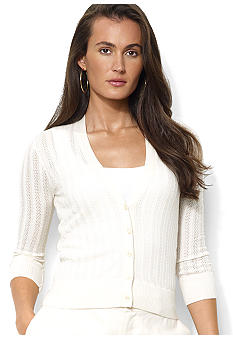 Lauren Ralph Lauren Three-Quarter-Sleeved Silk-Blend V-Neck Cardigan
