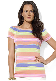 Lauren Ralph Lauren Cap-Sleeved Cotton Striped Boatneck Tee